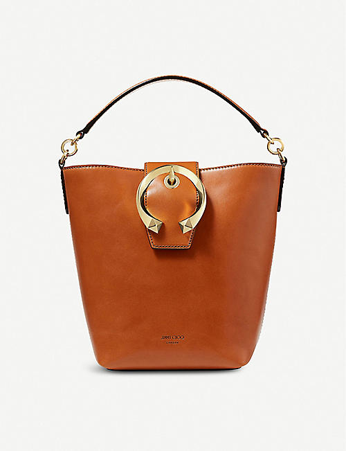 JIMMY CHOO: Madeline leather bucket shoulder bag