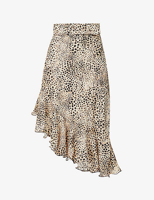 ART DEALER: Samantha leopard-print stretch-silk skirt