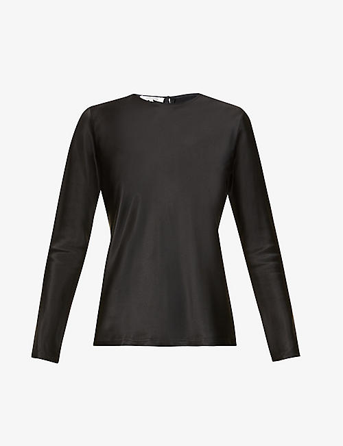 LA COLLECTION: Cybele long-sleeve silk-satin top