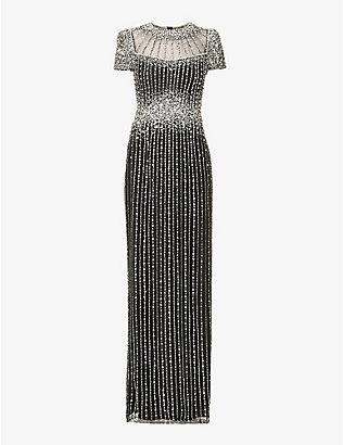 JENNY PACKHAM: Delilah sequin and jewel embellished crepe gown
