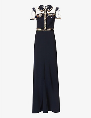 JENNY PACKHAM: Dolly crystal-embellished stretch-crepe gown