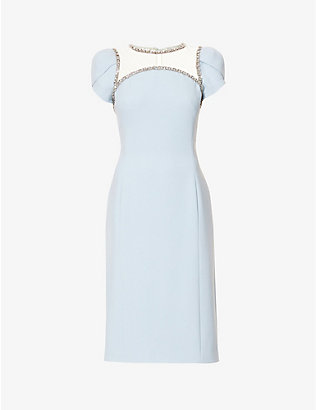 JENNY PACKHAM: Marlee crystal-embellished crepe midi dress