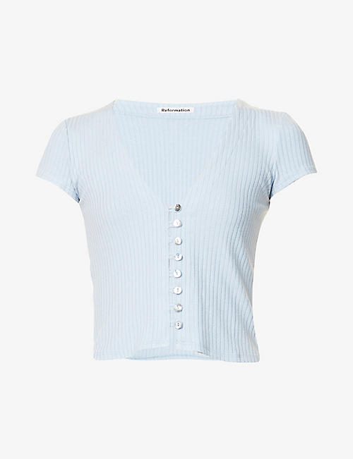 REFORMATION: Nella ribbed stretch-modal top