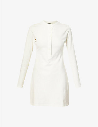 REFORMATION: Tam button-up organic cotton-blend mini dress