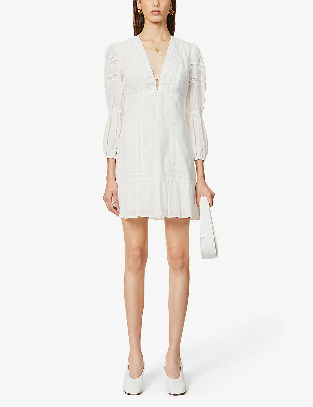 REFORMATION: Cecille broderie puff-sleeve organic cotton mini dress