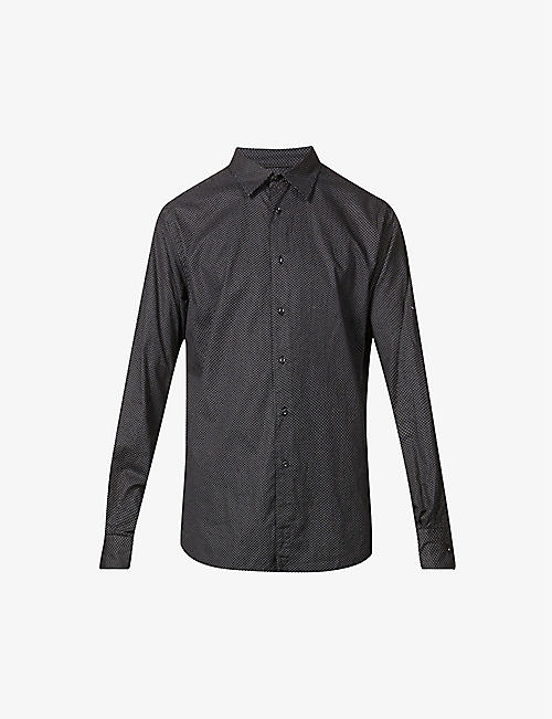 7 FOR ALL MANKIND: Dot print slim-fit cotton shirt