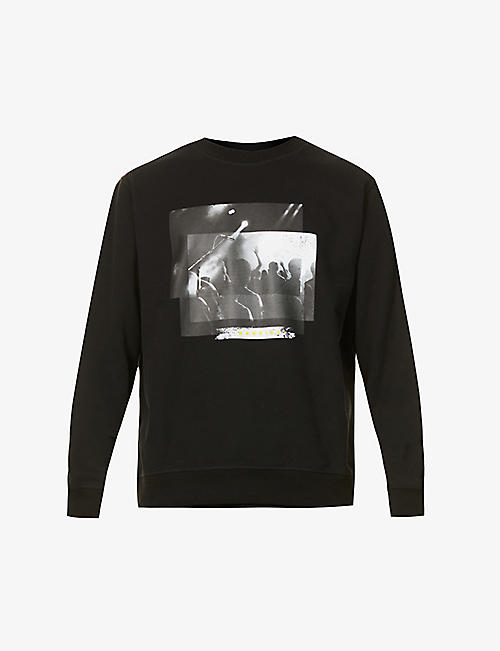 7 FOR ALL MANKIND: Concert print cotton-jersey sweatshirt