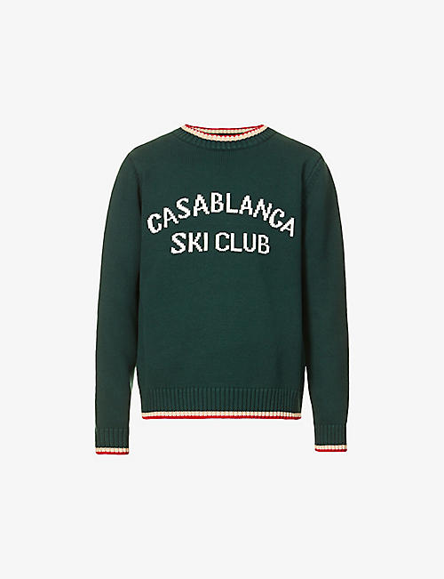 CASABLANCA: Brand-print striped-trim cotton-knit jumper