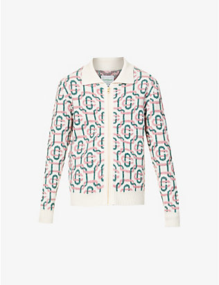 CASABLANCA: Monogram-embroidered wool-blend cardigan