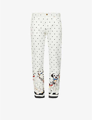 CASABLANCA: Graphic-print straight jeans