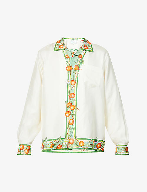 CASABLANCA: Pleiades D'orange graphic-print silk shirt