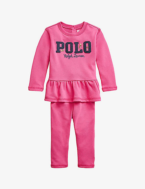 RALPH LAUREN: Logo-print ruffle-waist top and jogging bottoms set 3-24 months