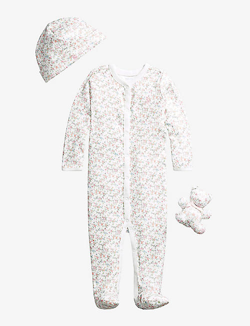 RALPH LAUREN: Floral-print cotton all-in-one, hat and teddy bear set 0-9 months