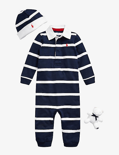 RALPH LAUREN: Rugby-striped cotton all-in-one, hat and teddy bear set 3-12 months