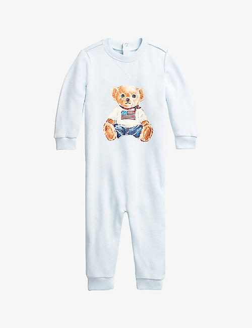 RALPH LAUREN: Bear-print cotton terry all-in-one 3-9 months