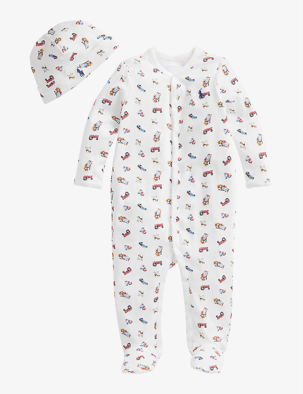 RALPH LAUREN: Farmer bear print cotton all-in-one, hat and bear set newborn-9 months