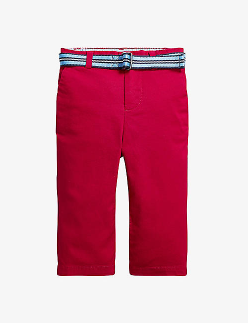 RALPH LAUREN: Belted slim-fit stretch-cotton chino trousers 3-24 months