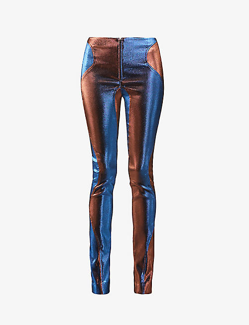 MUGLER: Flared high-rise woven trousers