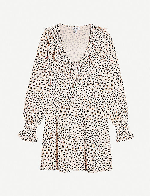 TOPSHOP: Animal-print stretch-woven mini dress