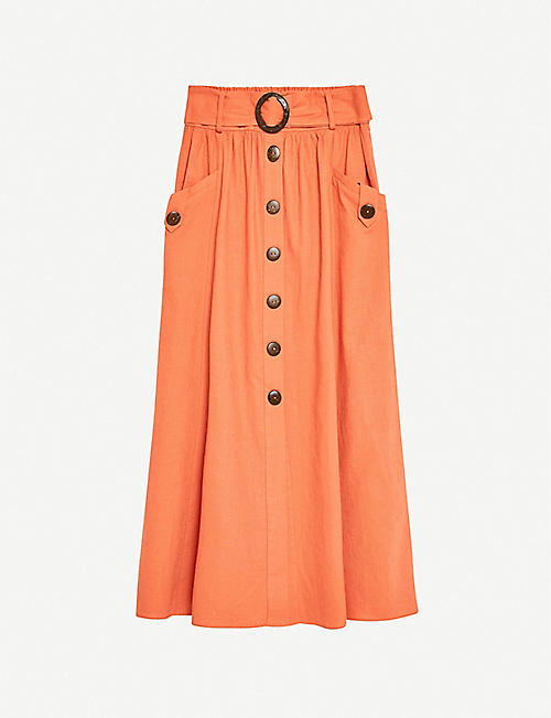 TOPSHOP: Belted high-waist linen-blend midi skirt
