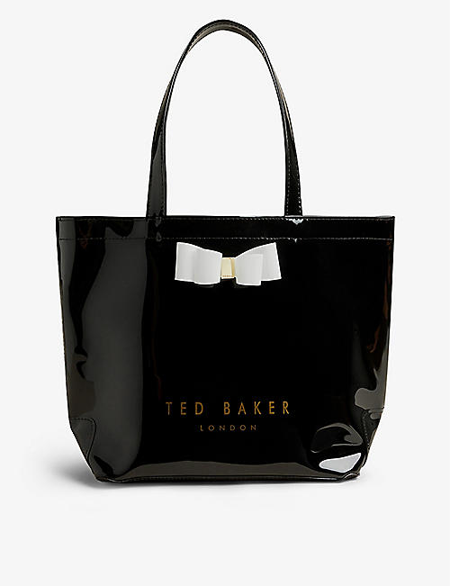 TED BAKER: Haricon icon bow-trimmed small vinyl tote bag