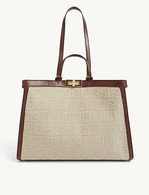FENDI: Peekaboo canvas tote bag