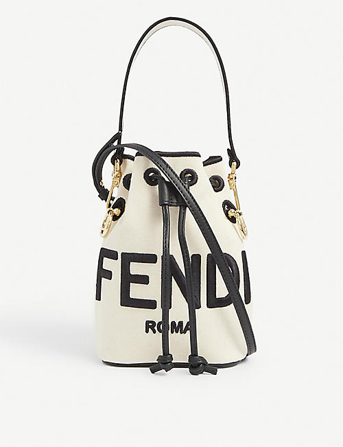 FENDI: Mon Trésor logo-debossed mini leather bucket bag