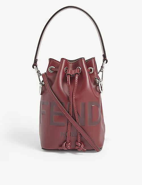 FENDI: Mon Trésor logo-debossed leather bucket bag