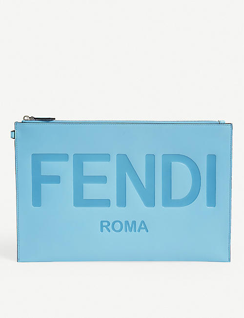 FENDI: Roma large logo-embossed leather pouch