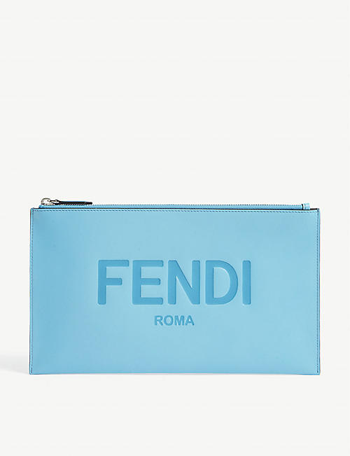 FENDI: Logo-embossed leather pouch