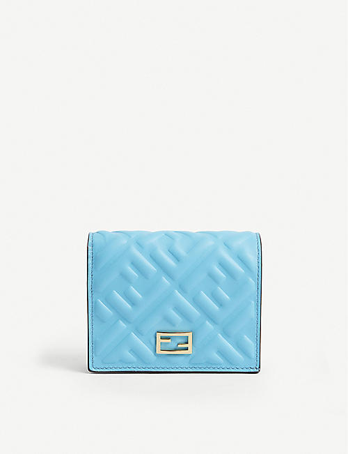 FENDI: FF logo-embossed leather Baguette bi-fold wallet
