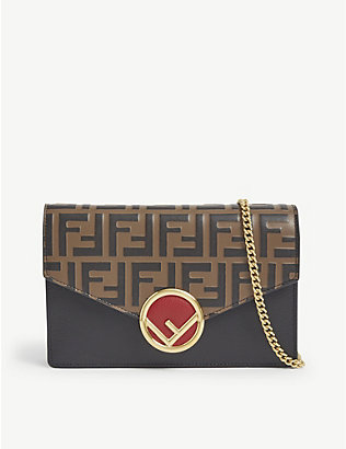 FENDI: FF-print leather wallet-on-chain