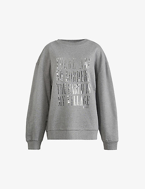 ALLSAINTS: Freedom Iona foiled-slogan cotton jumper