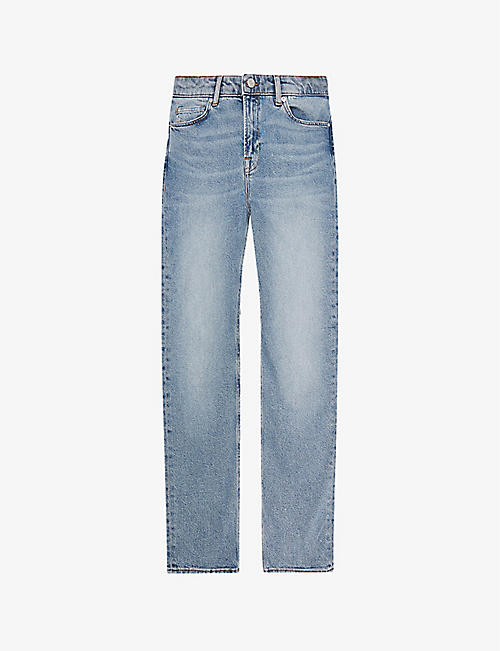 REISS: Bay faded-wash straight-leg mid-rise stretch-denim jeans