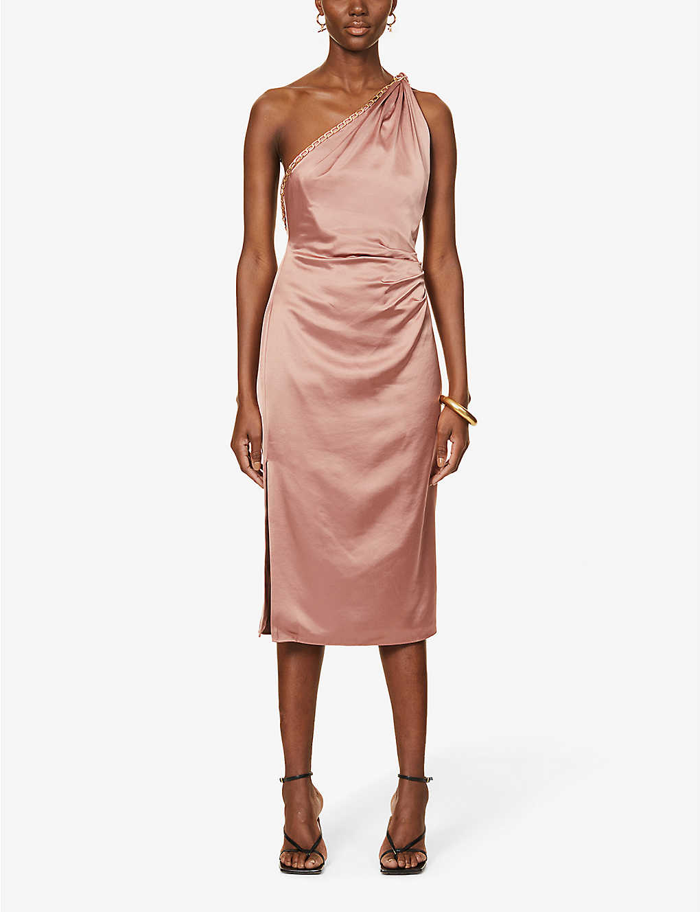 Adaline satin crepe midi dress
