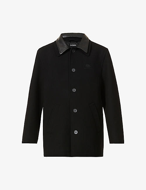 BALENCIAGA: Logo-embroidered wool and cashmere-blend coat