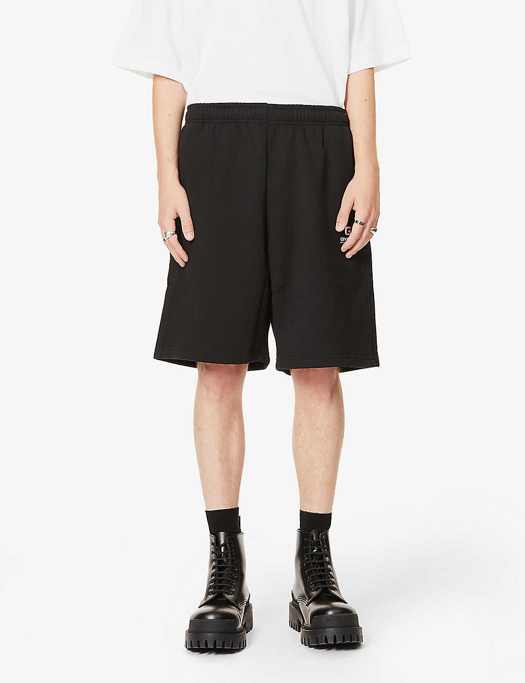 BALENCIAGA: High-rise text-print cotton-jersey shorts