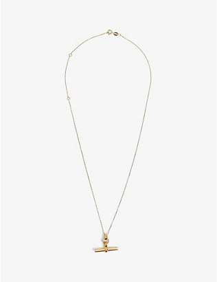 TILLY SVEAAS LTD: T-bar 23ct gold-plated sterling silver necklace