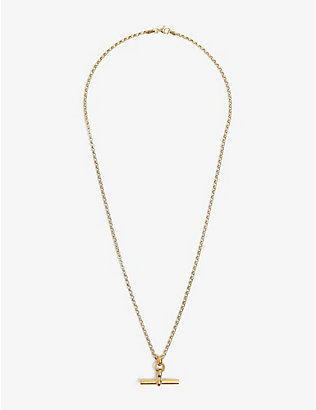 TILLY SVEAAS LTD: T-bar 23ct gold-plated sterling silver belcher necklace