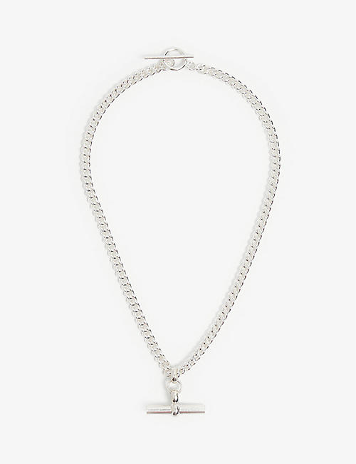 TILLY SVEAAS LTD: T-bar curb link sterling silver choker necklace