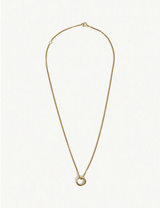 TILLY SVEAAS LTD: Russian 23ct gold-plated sterling silver ring on curb chain necklace