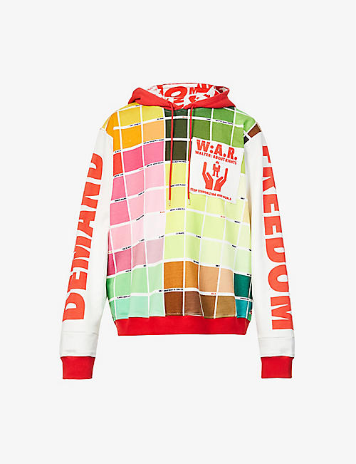 WALTER VAN BEIRENDONCK: Colour-blocked text-pattern cotton-jersey hoody