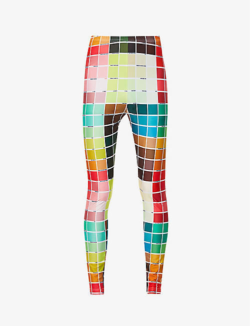 WALTER VAN BEIRENDONCK: Colour-blocked text-pattern woven leggings