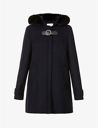 CLAUDIE PIERLOT: Genn faux fur-trimmed wool-blend coat