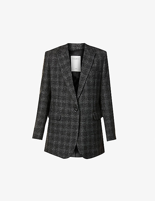 SANDRO: Dom wool and linen-blend checked blazer