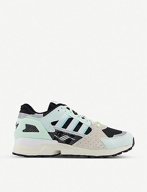 ADIDAS: ZX 10,000 mesh and suede low-top trainers