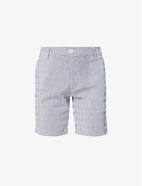 WAX LONDON: Holm striped cotton shorts