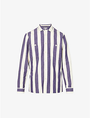 WAX LONDON: Whiting striped cotton corduroy shirt