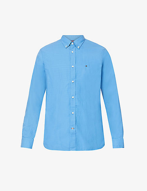 TOMMY HILFIGER: Logo-embroidered cotton Oxford shirt