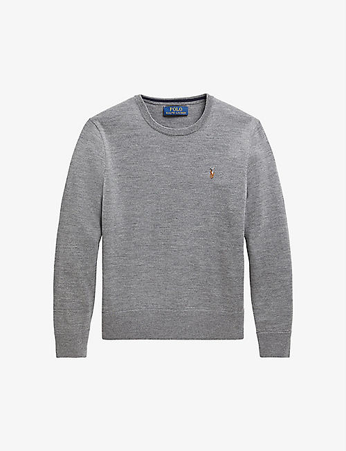 RALPH LAUREN: Logo-embroidered crewneck merino wool jumper 2-14 years